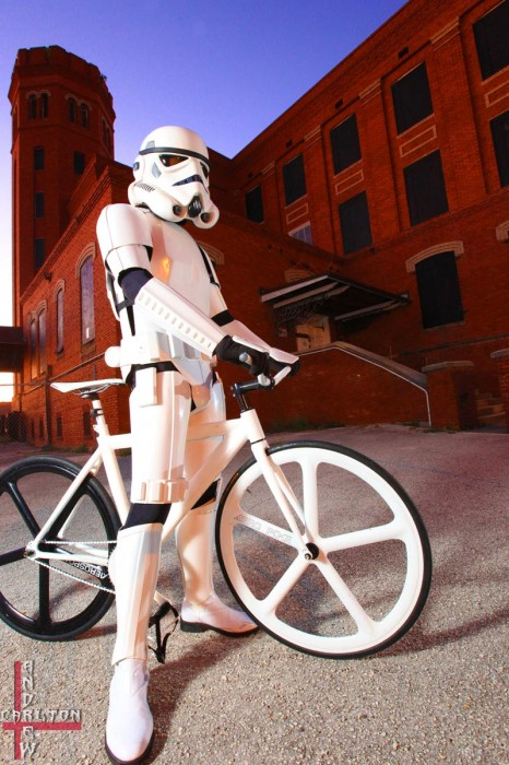 Stormtrooper Rides a Fixed Gear